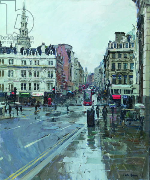 Fleet Street from Ludgate Hill (Rain), 2014 (oil on canvas)