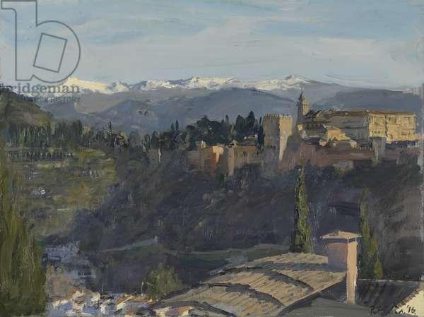The Alhambra and Sierra Nevada, Granada, 2016 (oil on board)