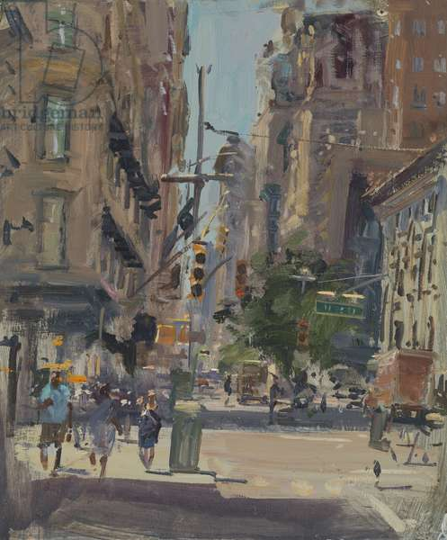Hot Day, Broadway and 28th, 2017 (oil on board)