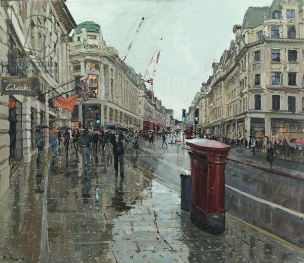 Regent Street, Rain, Looking North, 2014 (oil on canvas)