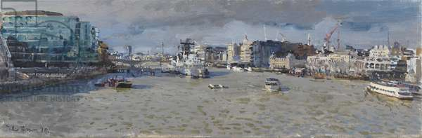 Silty Thames, from Tower Bridge, 2010 (oil on canvas)