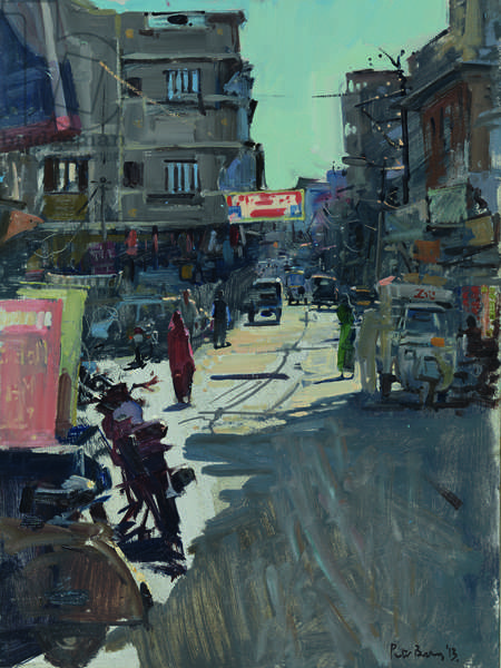 Up Jagdish Road, early Afternoon, 2013 (oil on board)