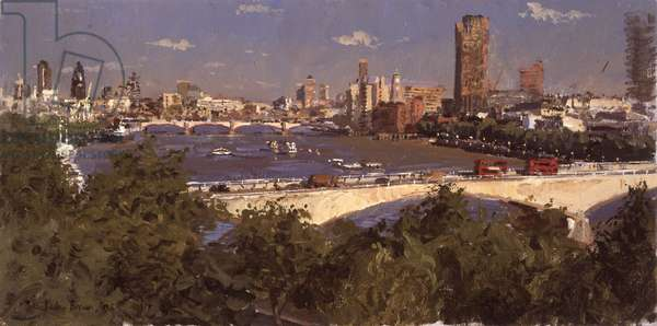 4pm over Waterloo Bridge from the Savoy, 2006 (oil on canvas)