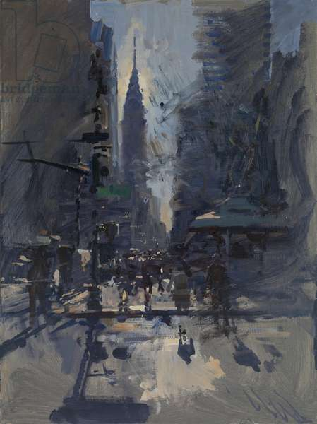 Spring Morning Sun, The Chrysler Building from Bryants Square, 2017 (oil on board)