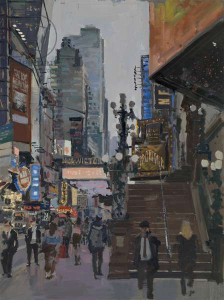 The New Victory Steps, 42nd St, 2017 (oil on board)