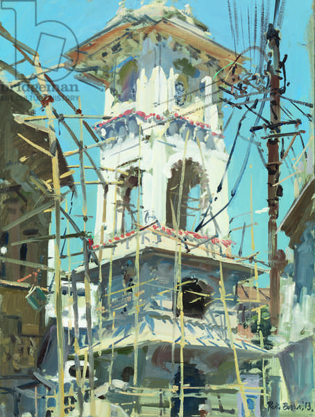 Clocktower and Bamboo Scaffolding, 2013 (oil on board)