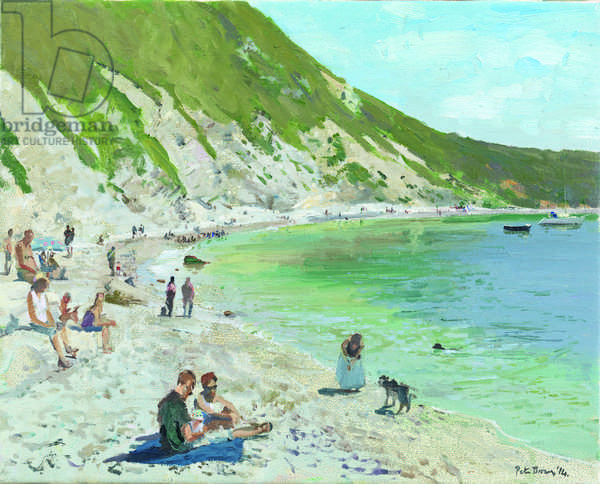 Playing Fetch, Lulworth Cove, 2014 (oil on canvas)