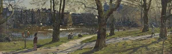 March, Hampstead Lake, Hampstead Heath, 2010 (oil on canvas)