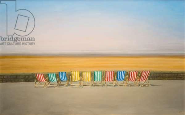 Deckchairs at Weston-super-Mare, 2013 (oil on canvas)