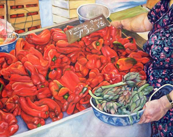 Tomatoes and Artichokes, 1998 (oil on canvas)