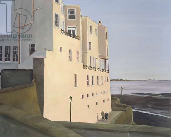 The Royal Pier Hotel. Evening Light with Elderly Couple, 2006 (oil on canvas)