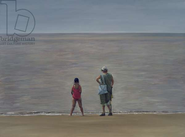 Grandmother and Granddaughter, Burnham-on-Sea, 2006 (oil on canvas)