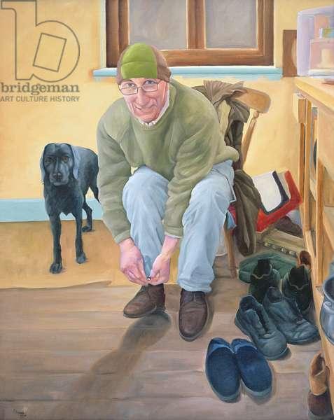 Ewan and Minnie in their Kitchen, 2006 (oil on canvas)