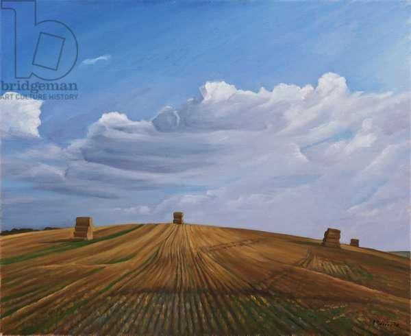 Hay Bales, Cotley Hill, Wiltshire, 2010 (oil on canvas)