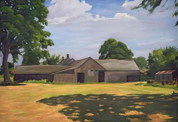 Deserted Farm Buildings near Priddy on The Mendips, 2003 (oil on canvas)
