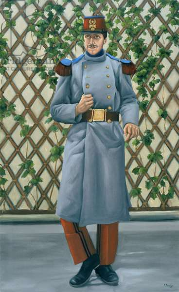 Marcel Proust in the infantry at Orleans, 1889-90, 2007 (oil on linen)