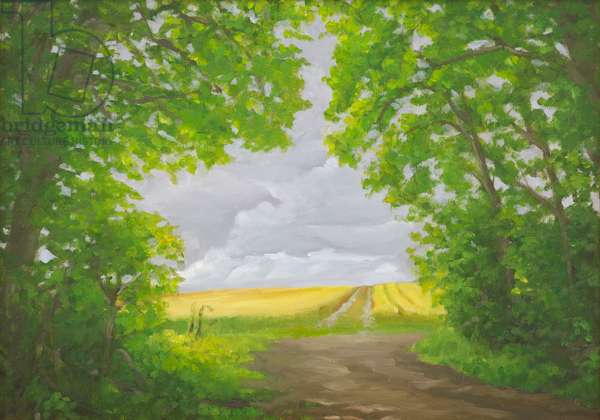 Path Through Woods, Cotley Hill, 2010 (oil on canvas)