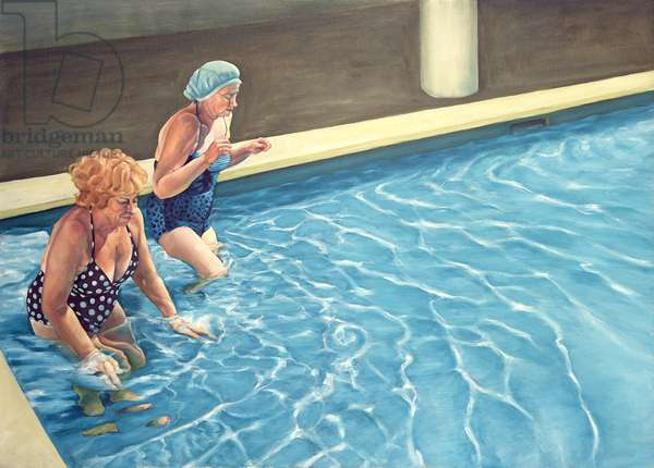 Two Ladies Getting into a Swimming Pool, 2000 (oil on canvas)