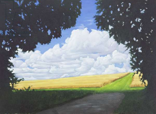 The Wessex Ridgeway Path as it exits woodland and crosses Cotley Hill, Summertime, 2008 (oil on canvas)