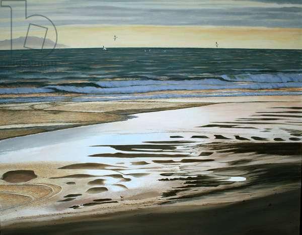 New Zealand beach, Grey Dawn (oil on canvas)