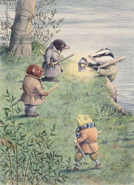 Badger, Toad, Mole and Rat armed to retake Toad Hall, illustration from 'The Wind in the Willows' (w/c on paper)