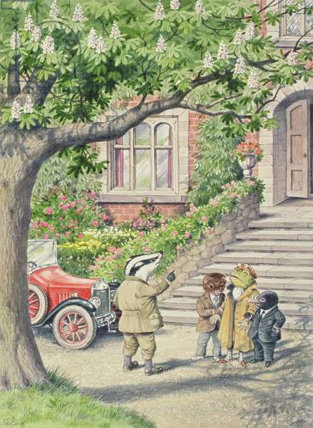 Badger with Rat, Toad and Mole at Toad Hall, illustration from 'The Wind in the Willows' (w/c on paper)