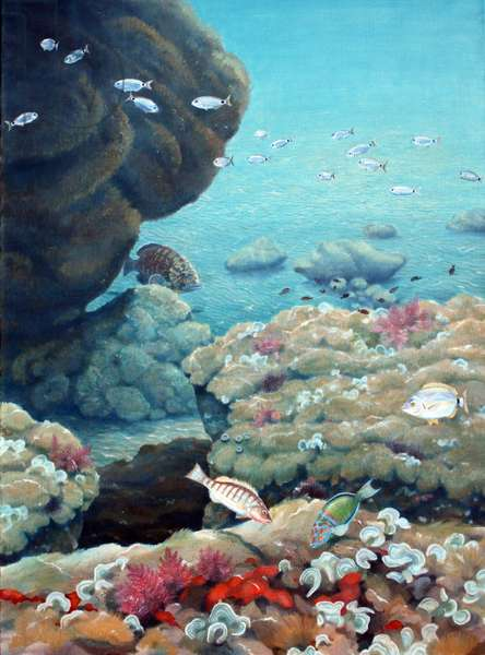 Underwater, Amorgos (oil on canvas)