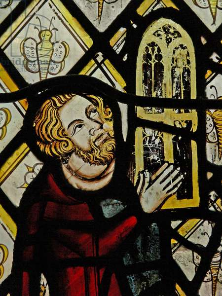 Window n3 depicting a donor - Robert Skelton giving the window; the quarries with butterflies (stained glass)