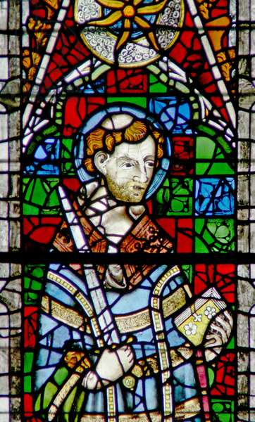 Window w4 depicting St Vincent (stained glass)
