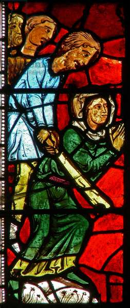 Window wXX depicting St Valery persecuted for not worshiping idols (stained glass)