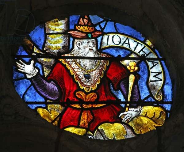Window w3 depicting King Joatham on the Tree of Jesse (stained glass)
