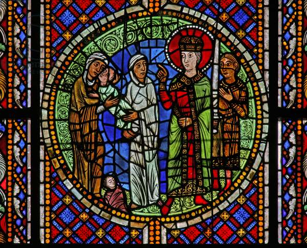 Window w3 depicting Solomon awards the child to the real mother (stained glass)