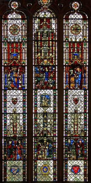 Window w31 depicting a composite window with St Edmund, St William, St George, Annunciation, Adoration of the Magi (stained glass)