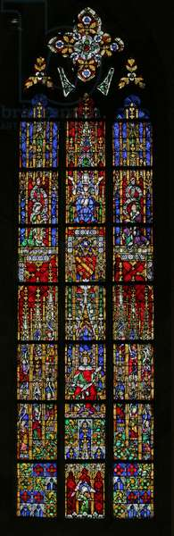 Window depicting Solomon enthroned, c. 1320,  14th-20th century (mostly modern) (stained glass)