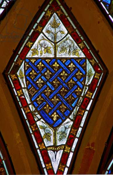 Window Ew depicting arms - royal of France - ancient (stained glass)