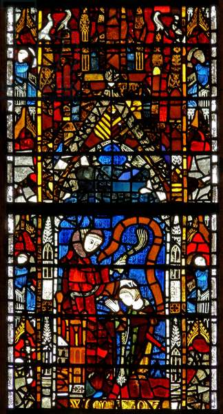 Window w38 depicting the administration of penance (stained glass)