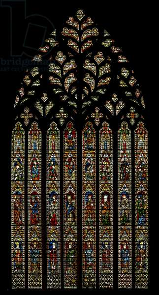 Window Ww depicting archbishops, Apostles, the Annunciation, Nativity, Resurrection, Ascension, Coronation of the Virgin (stained glass)