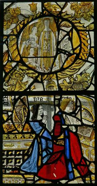 Window s6 depicting donors - Cave? beneath a roundel of the Assumption (stained glass)