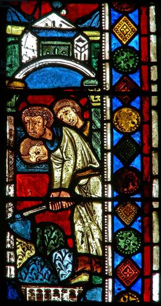 Window wXX depicting digging for remains of St Gervais and St Protais (stained glass)