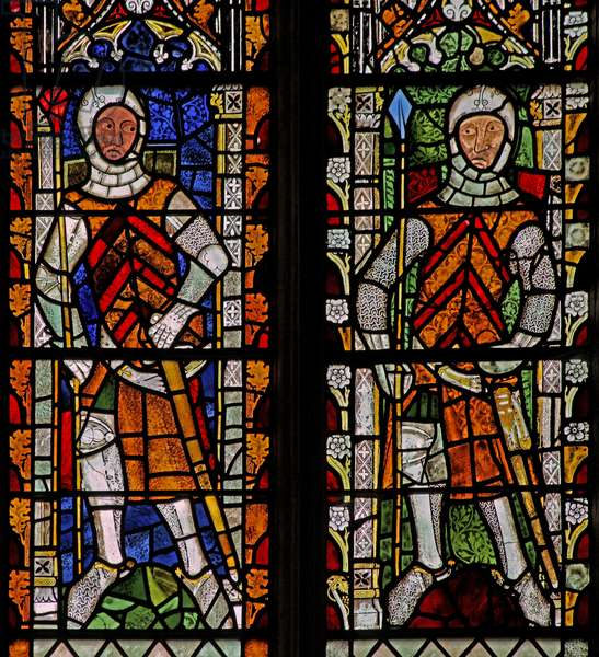 Window s4 depicting William Lord de la Zouche and Gilbert I de Clare (stained glass)
