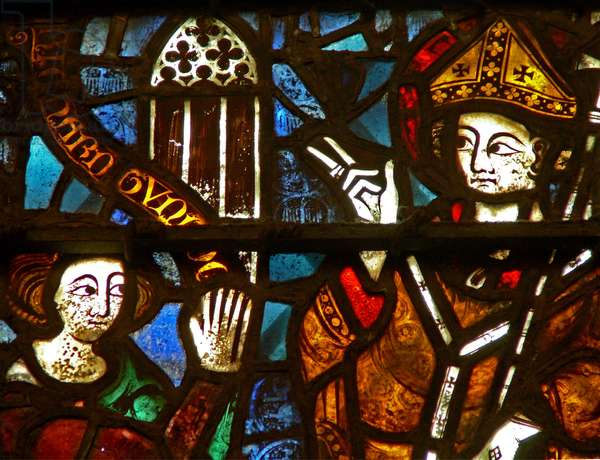 Window w41 depicting a donor - Richard Tunnoc giving a window to St William (stained glass)