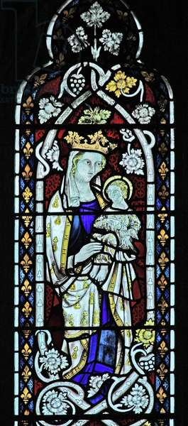 The East window (Ew) depicting the Virgin and Child (stained glass)