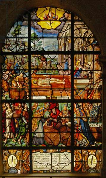 Window in the Charnier (w.11) depicting the Mystic Wine (Press (stained glass)