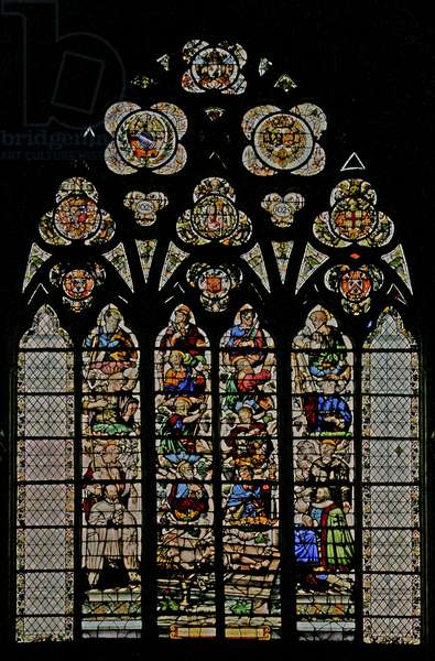 Window w49 depicting the Mystic Wine-Press (stained glass)