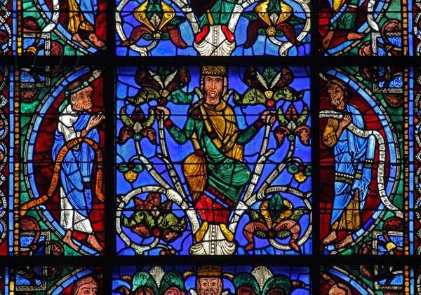 The Tree of Jesse:  Zachariah, Jesse king, Joel (w49) (stained glass)