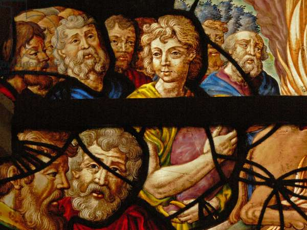 Window in the Charnier (w.8) depicting a Detail from Elijah's sacrifice; the priests of Baal (stained glass)