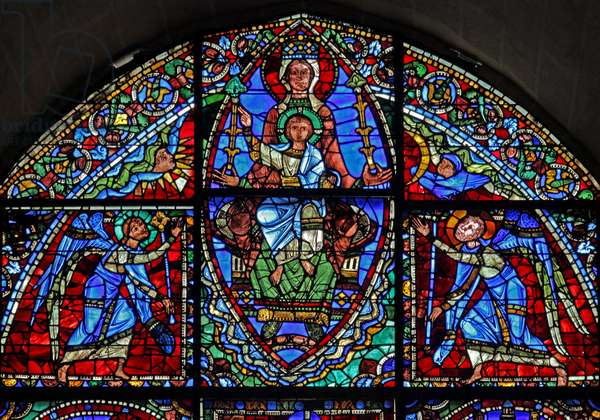 The Virgin Mary enthroned and Christ child with two angels (stained glass)