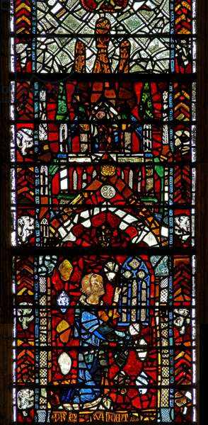 Window w39 depicting a donor giving the window (stained glass)