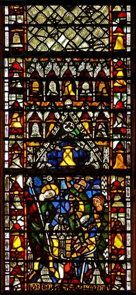 Window w41 depicting bell-making (stained glass)