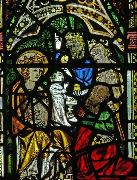 Window N2 depicting the Adoration of the Magi (stained glass)
